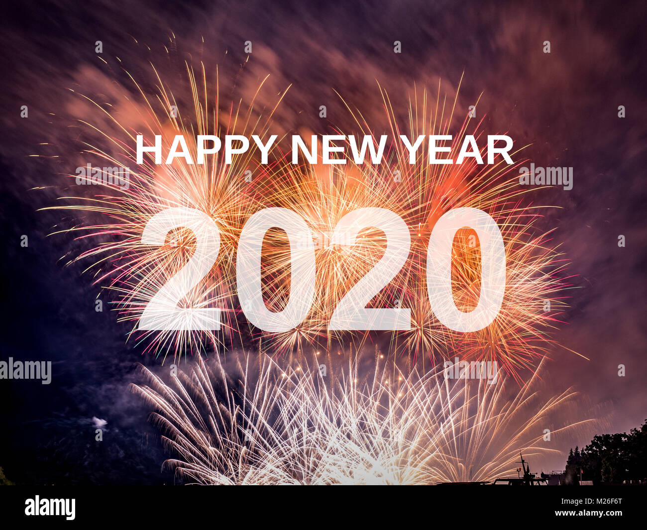 Happy new year 2020 with fireworks background. Celebration New Year ...