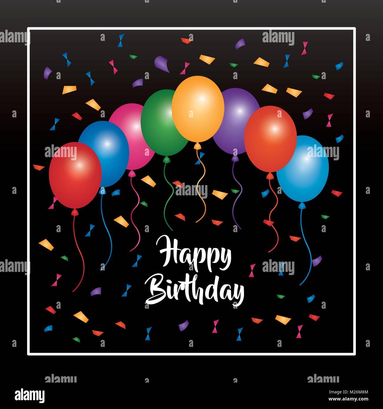 happy birthday invitation poster multicolored balloons confetti and