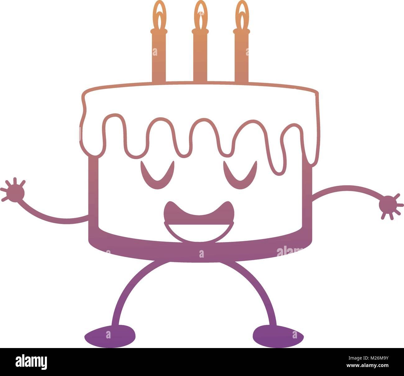 kawaii birthday cake icon Stock Vector Art Illustration Vector