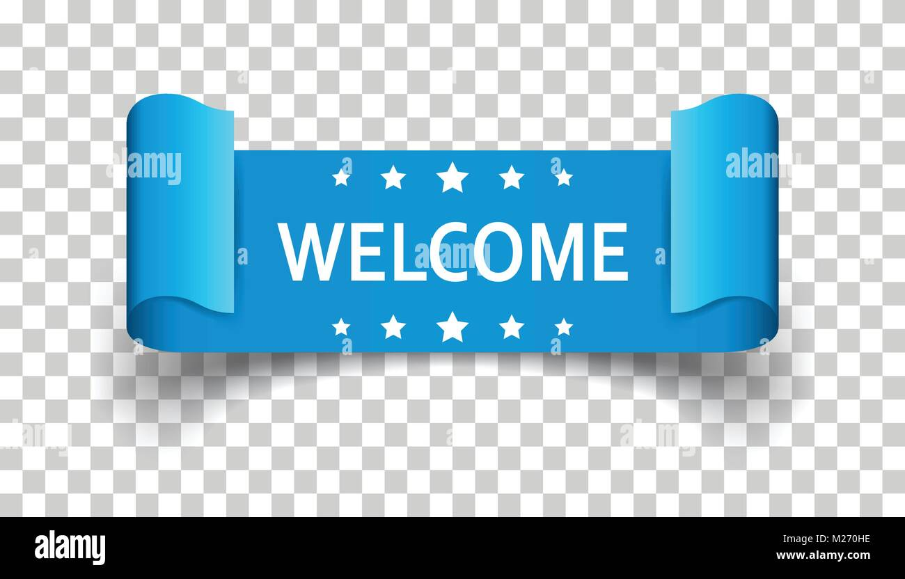 welcome ribbon vector icon hello sticker label on isolated stock