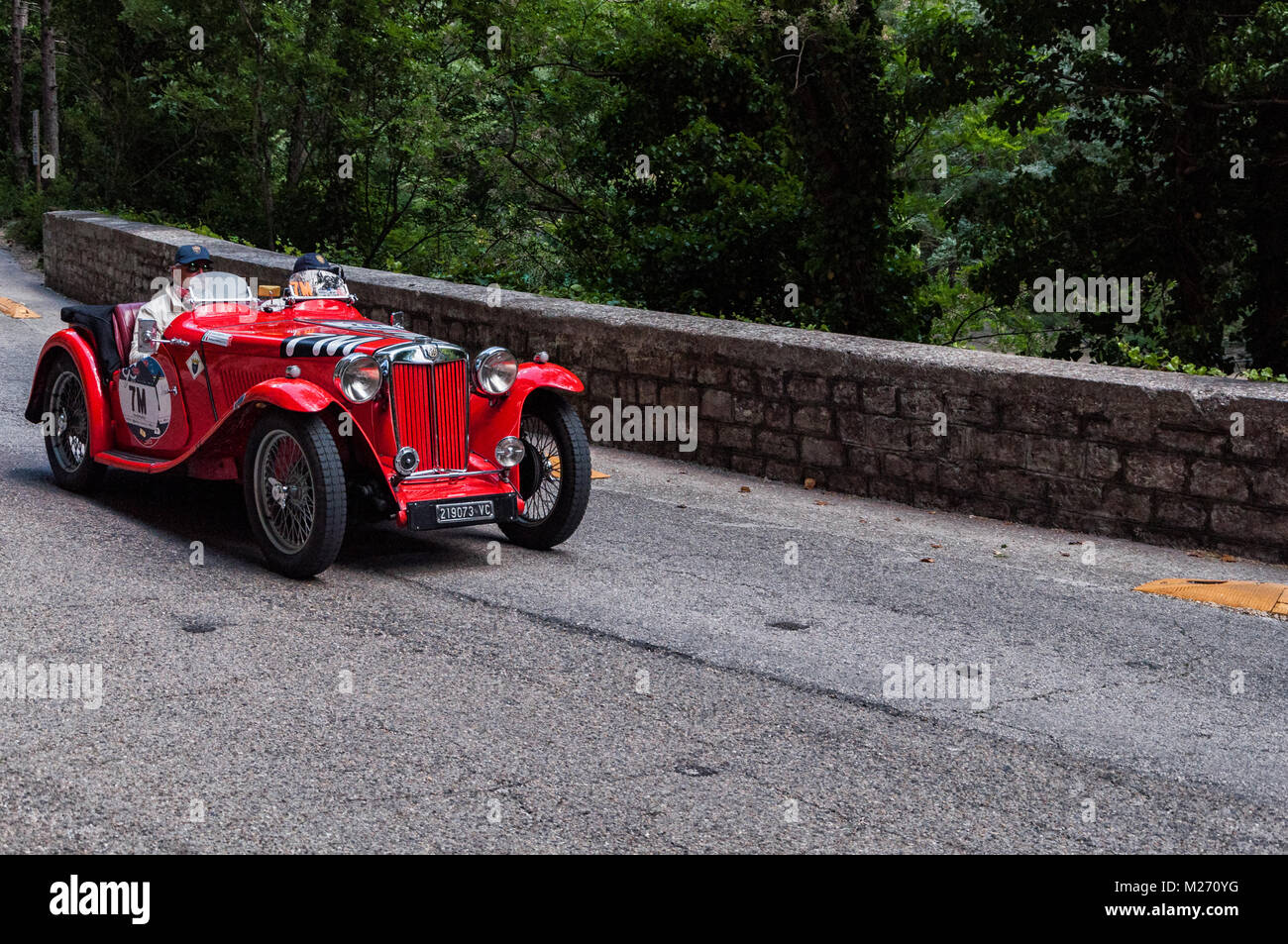GOLA DEL FURLO, ITALY - MAY 19: MG TB 1939 on an old racing car in ...