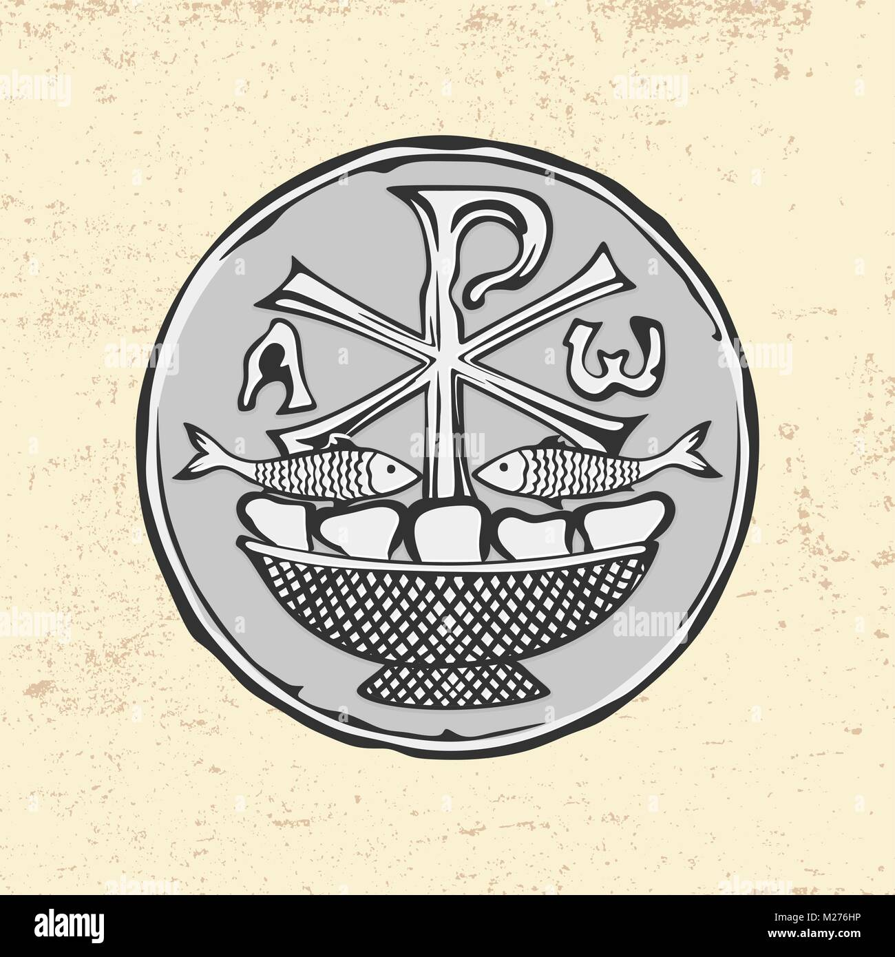 Ancient Christian Symbol Of Jesus Christ Alpha And Omega Two Fish