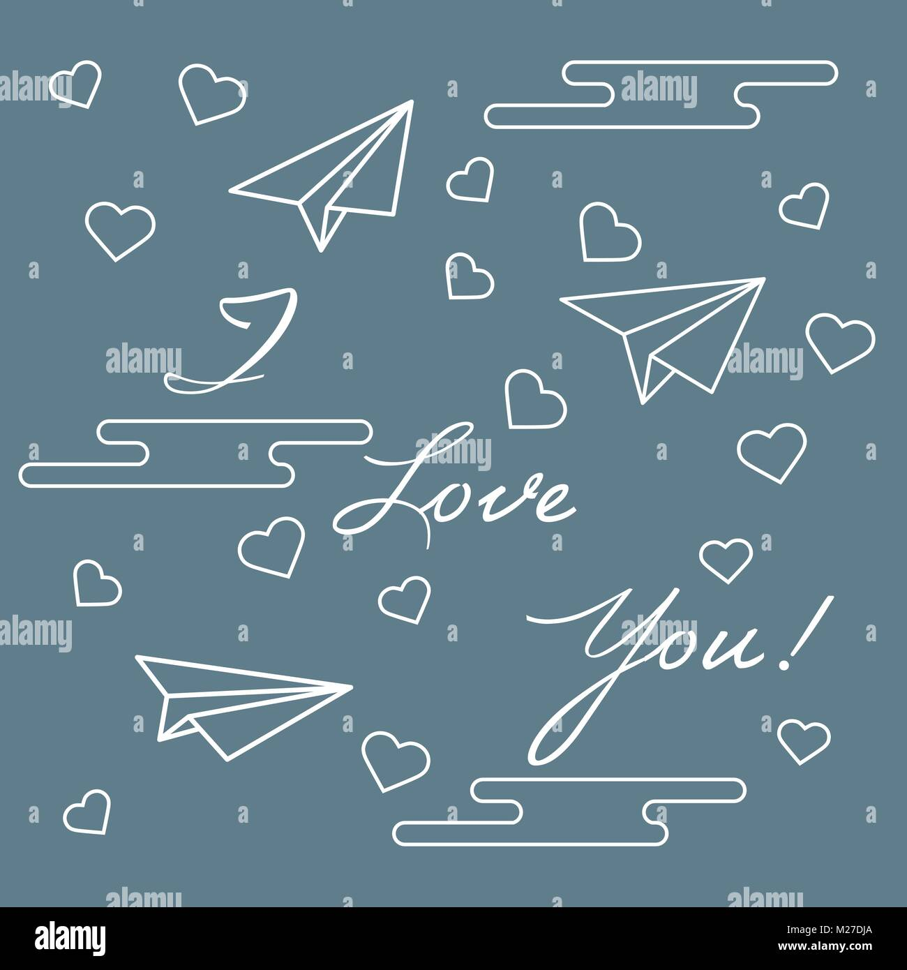 paper airplane hearts clouds and inscription i love you template