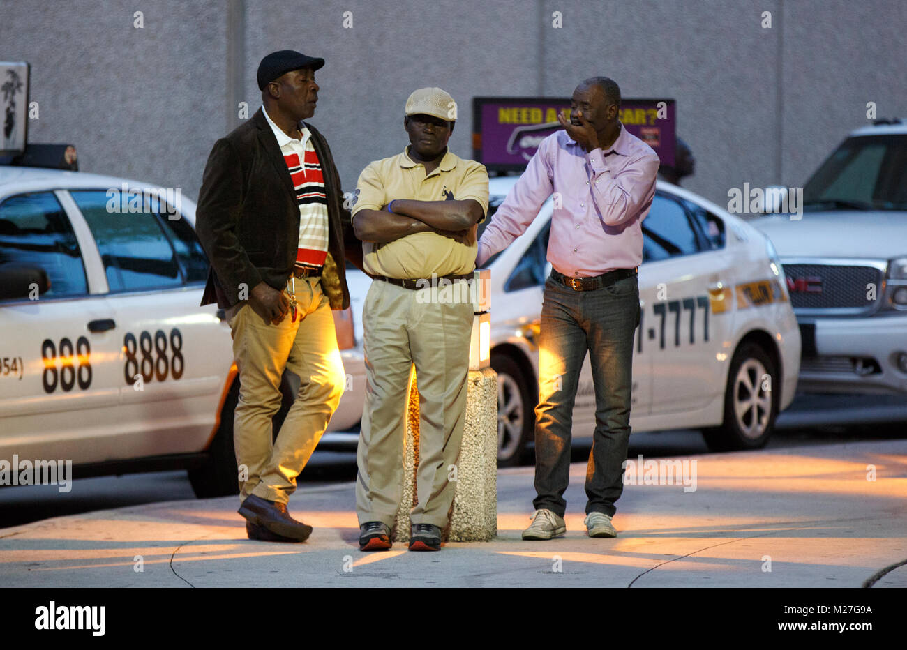 Taxi cab drivers waiting for fares, Fort Lauderdale Hollywood International  Airport Florida
