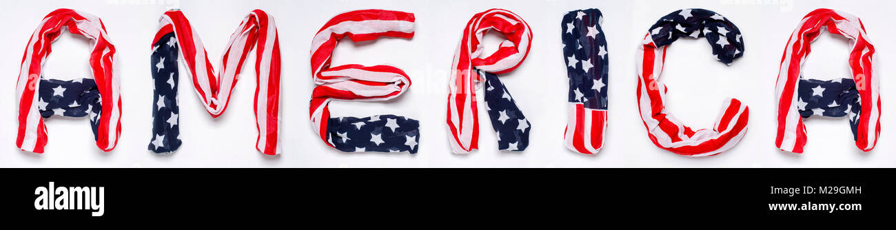 a m e r i k a letters made of american flag isolated on white stock