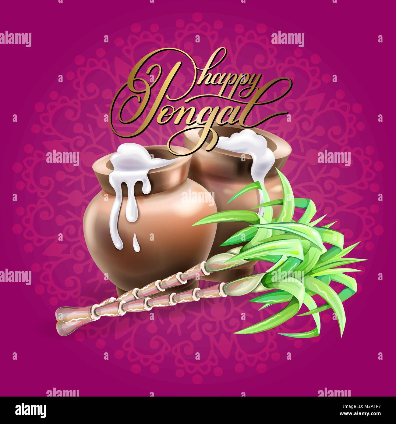 Happy Pongal Greeting Card To South Indian Winter Holiday Stock