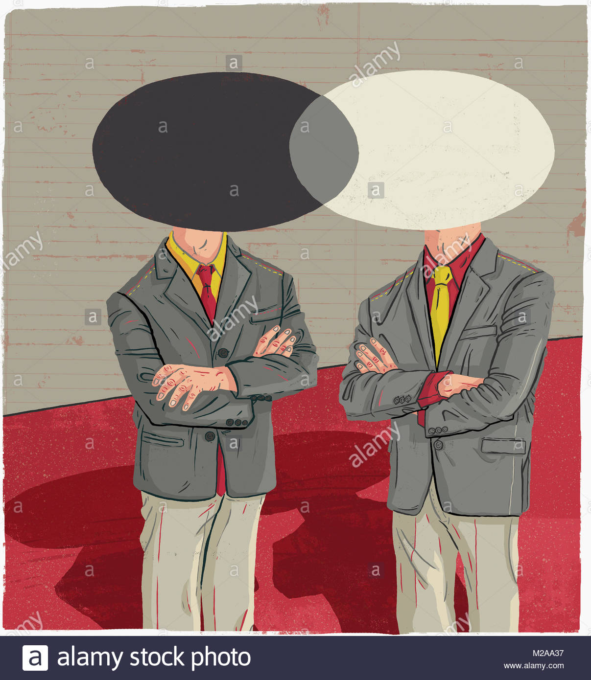 Venn diagram stock photos venn diagram stock images alamy two businessmen with overlapping venn diagram heads stock image pooptronica