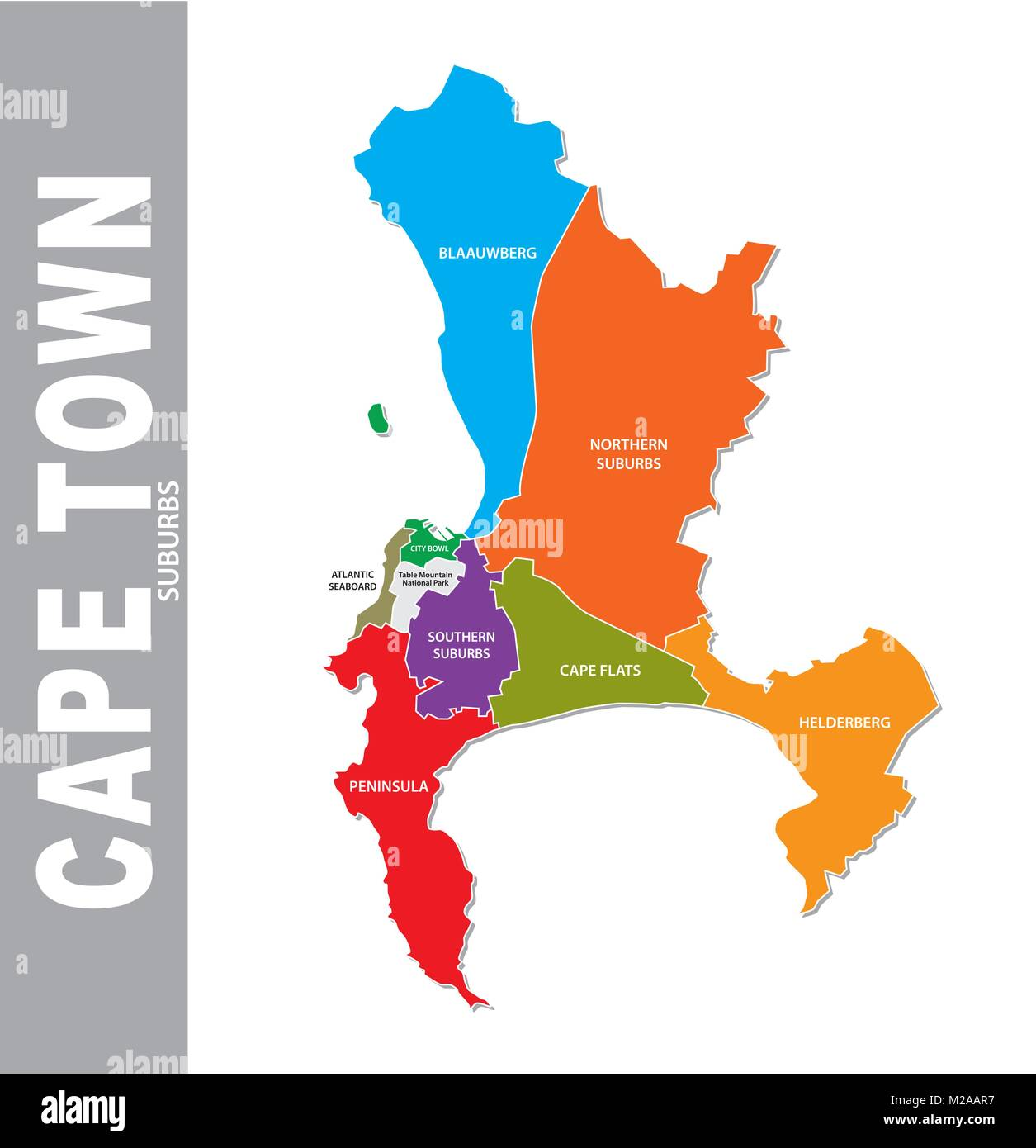 Colorful cape town suburb vector map Stock Vector Art & Illustration ...