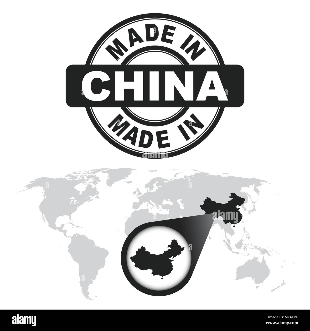 Made in china stamp world map with zoom on country vector emblem made in china stamp world map with zoom on country vector emblem in flat style on white background gumiabroncs Images