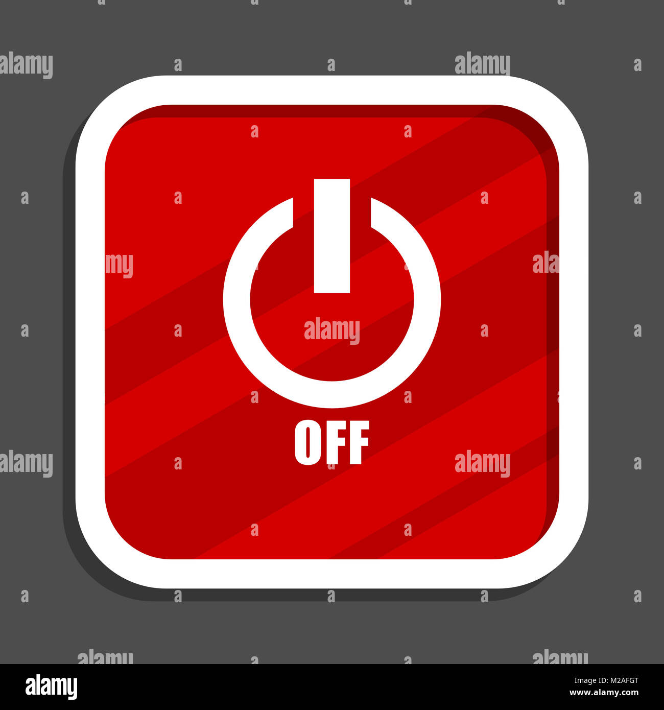 Power Off Icon Flat Design Square Internet Banner Stock Photo
