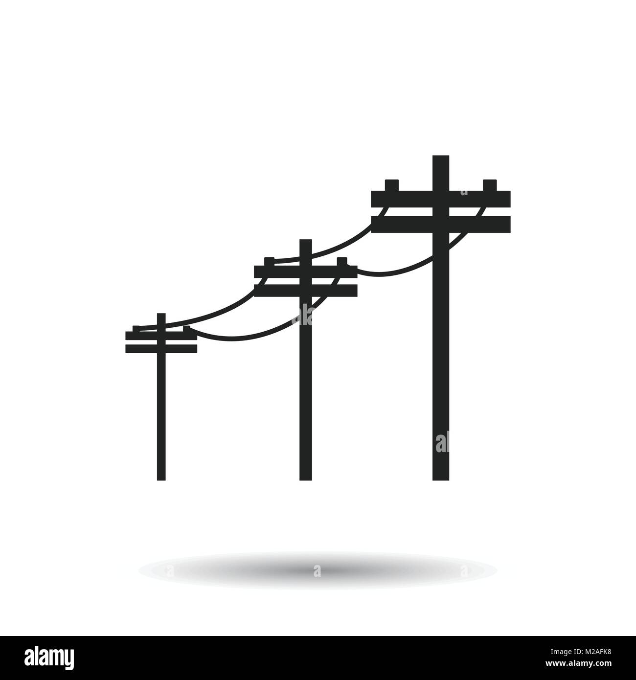 High Voltage Power Lines Electric Pole Vector Icon On White Stock Line Wiring Diagram Background