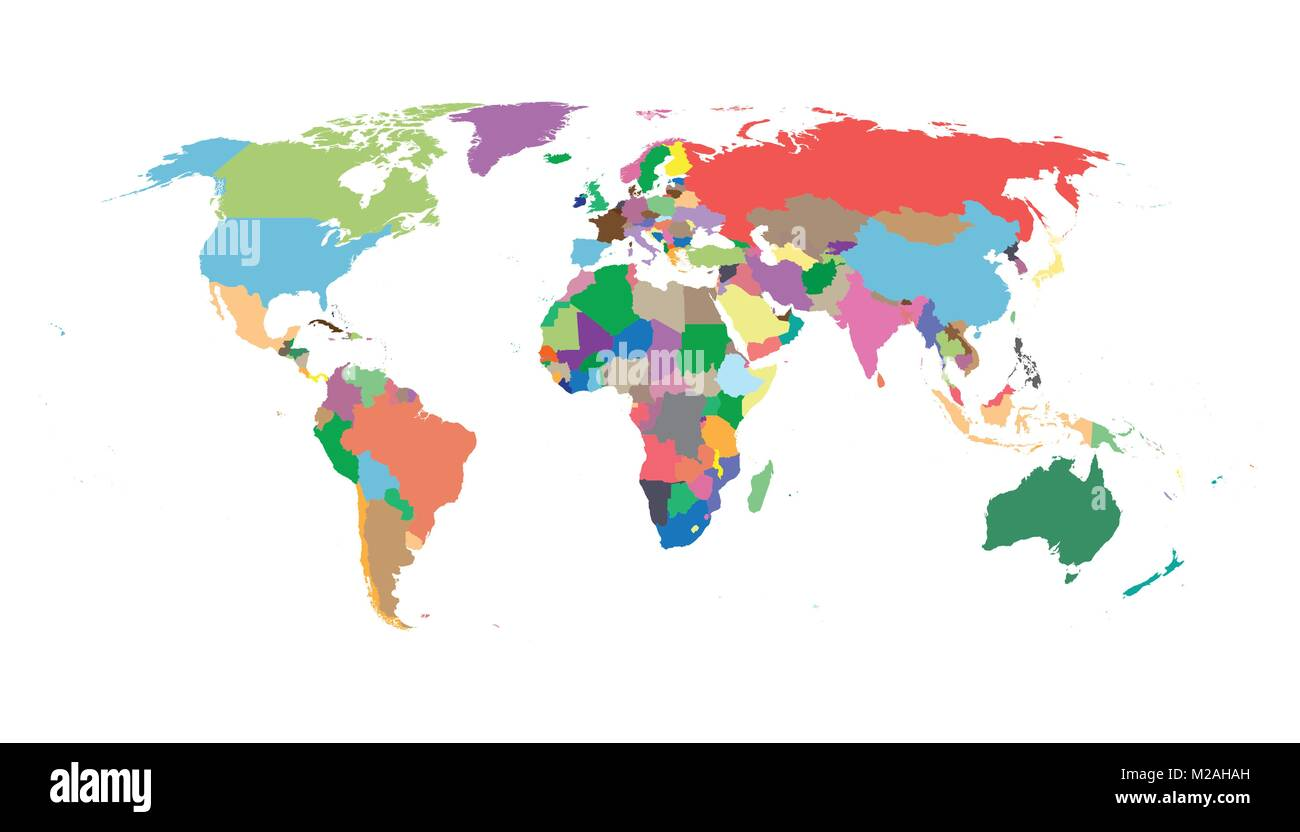 Colorful political world map isolated on white background world map colorful political world map isolated on white background world map vector template for website infographics design flat earth world map illustrat gumiabroncs Choice Image
