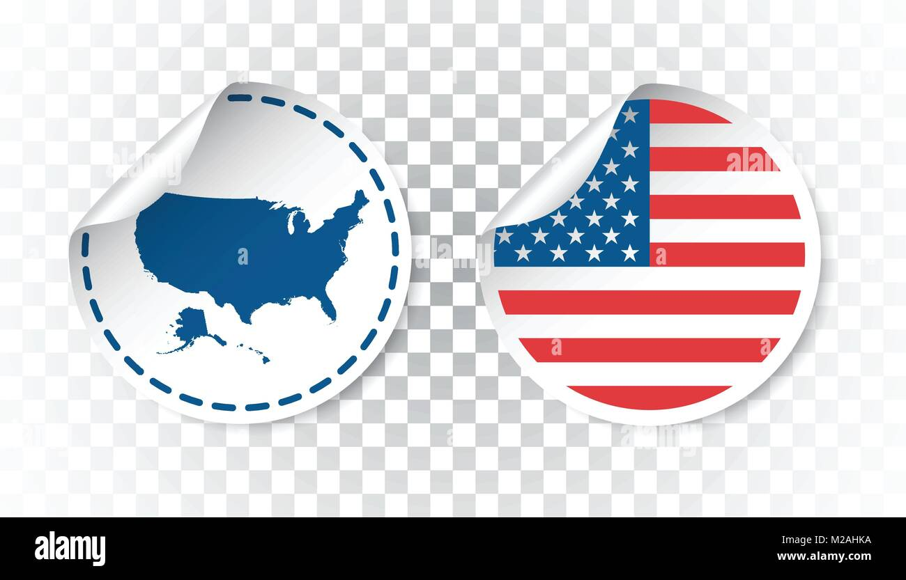 usa sticker with flag and map america label round tag with country vector ilration on isolated background