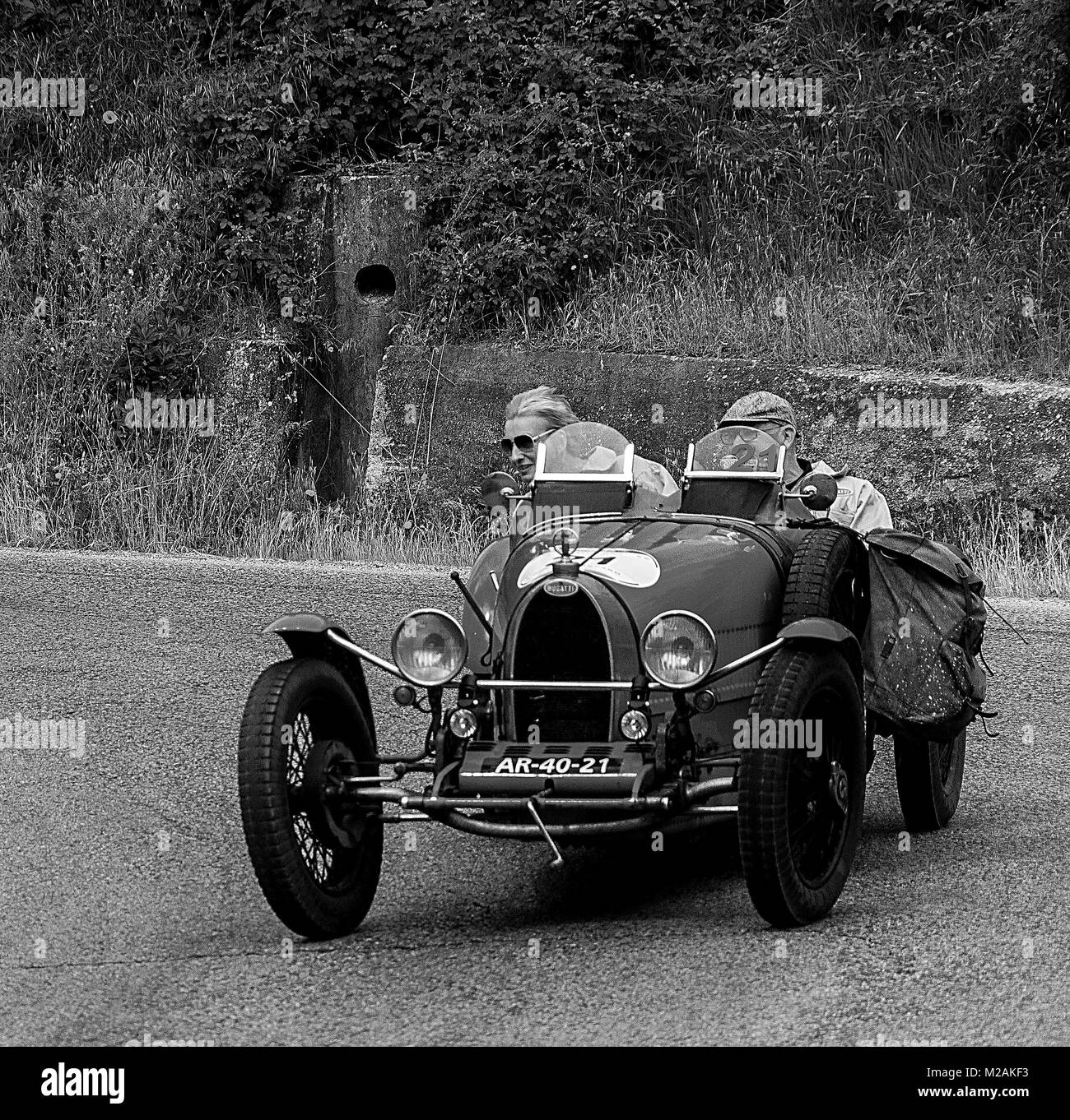 BUGATTI T 37 in nidentified crew on an old racing car in rally Mille ...