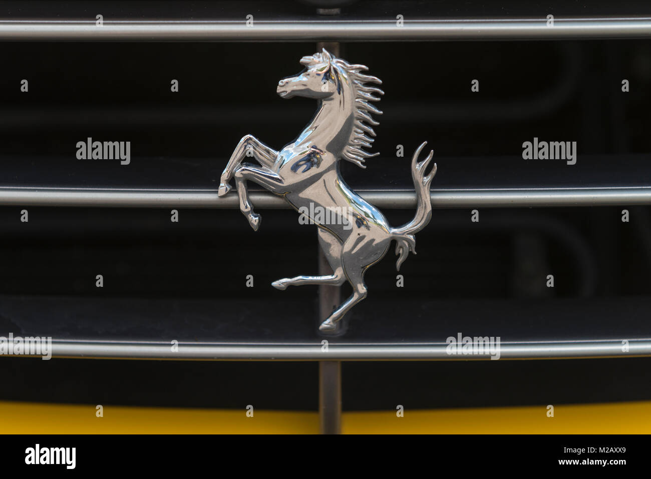 Prancing horse stock photos prancing horse stock images alamy the prancing horse badge on a yellow ferrari f1 california pictured at newport transport bridge biocorpaavc Gallery
