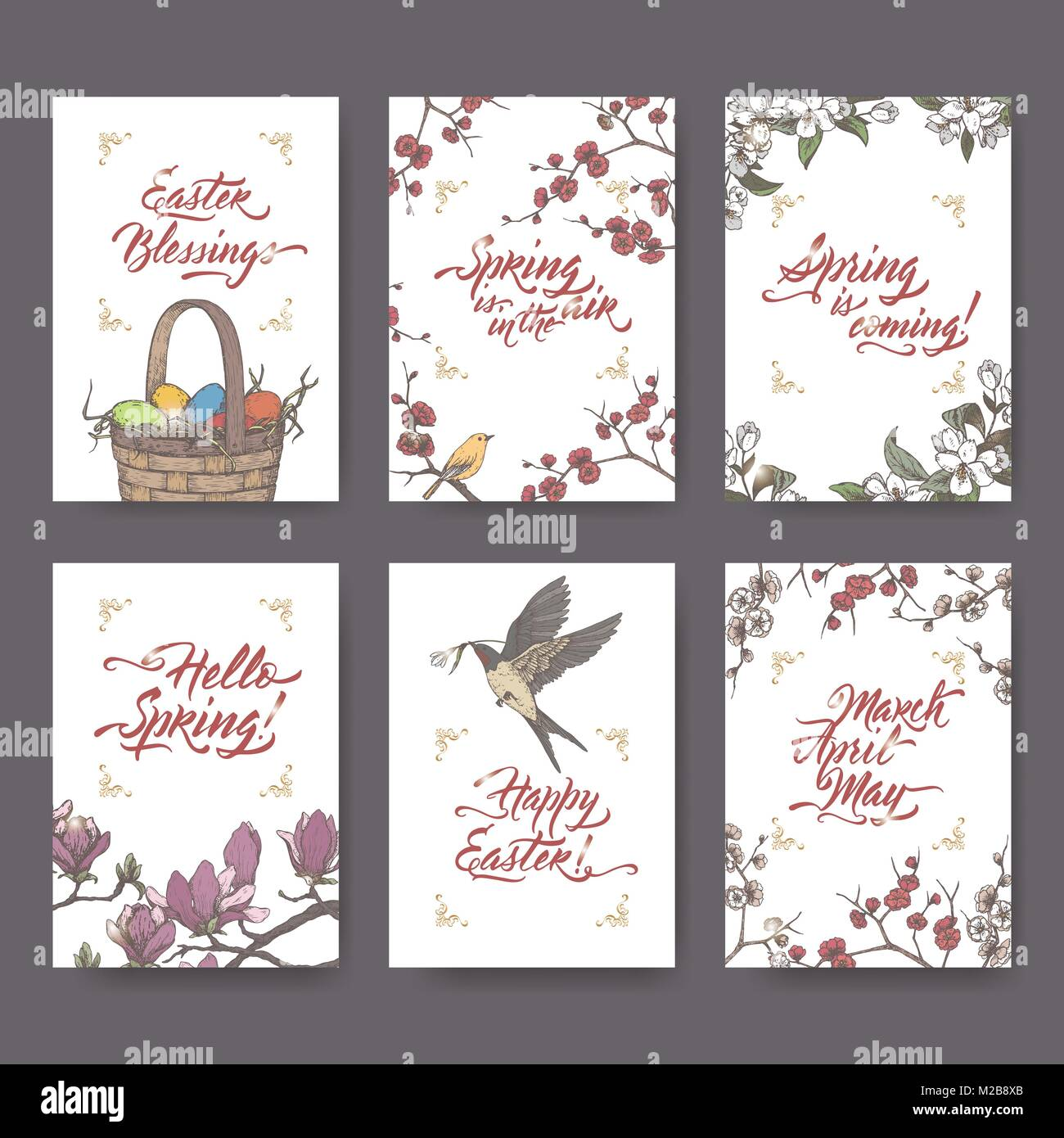 Set Of 6 Easter And Spring Related Color Greeting Cards On White