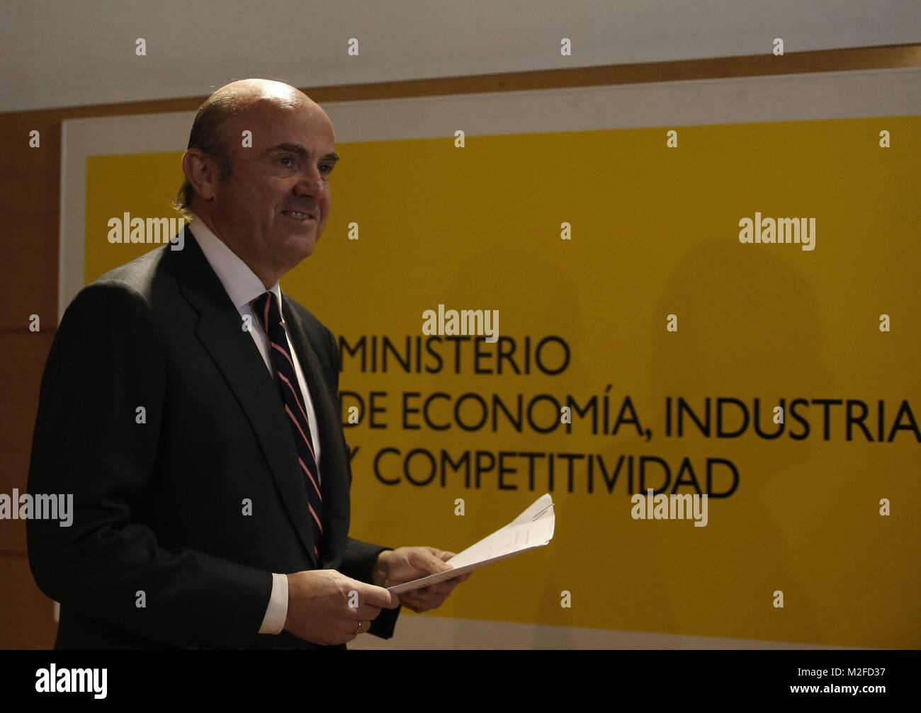 Spanish Minister Of Economy Luis De Guindos Arrives To A Press