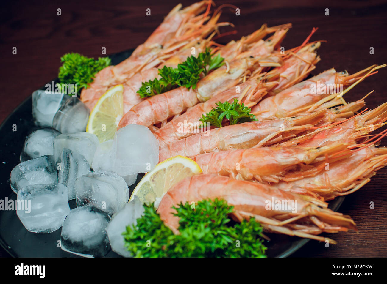 Argentine Raw Shrimp Seafood Food Red Ice Stock Photo 173694973 Alamy