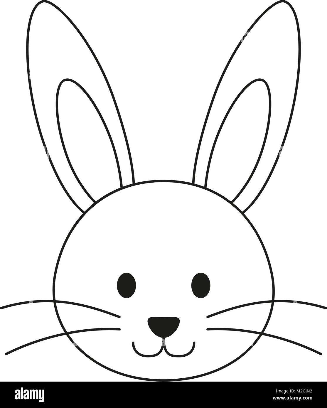 Line art black and white rabbit bunny face icon poster. Coloring ...
