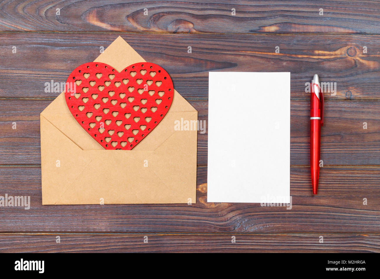Flat Lay Top View Love Letter On Saint Valentines Day Handmade