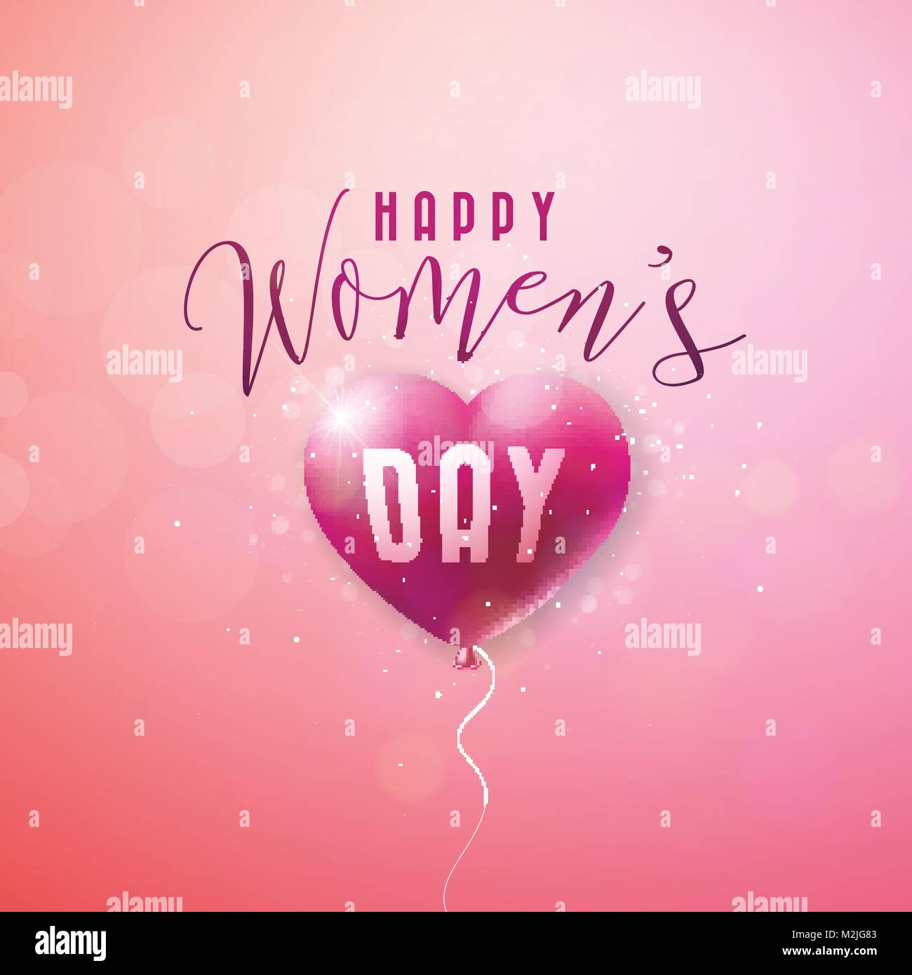 Happy womens day greeting card international holiday illustration happy womens day greeting card international holiday illustration with red balloon heart design on pink kristyandbryce Choice Image