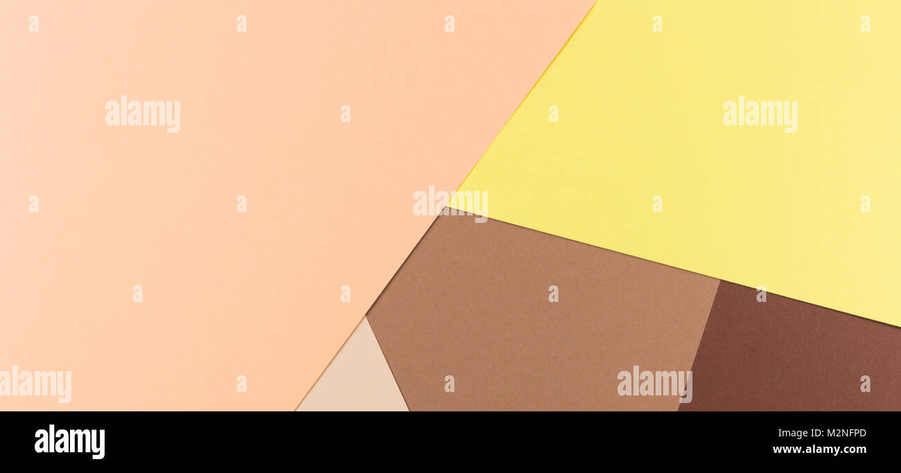 Color papers geometry composition background with yellow pink, beige ...