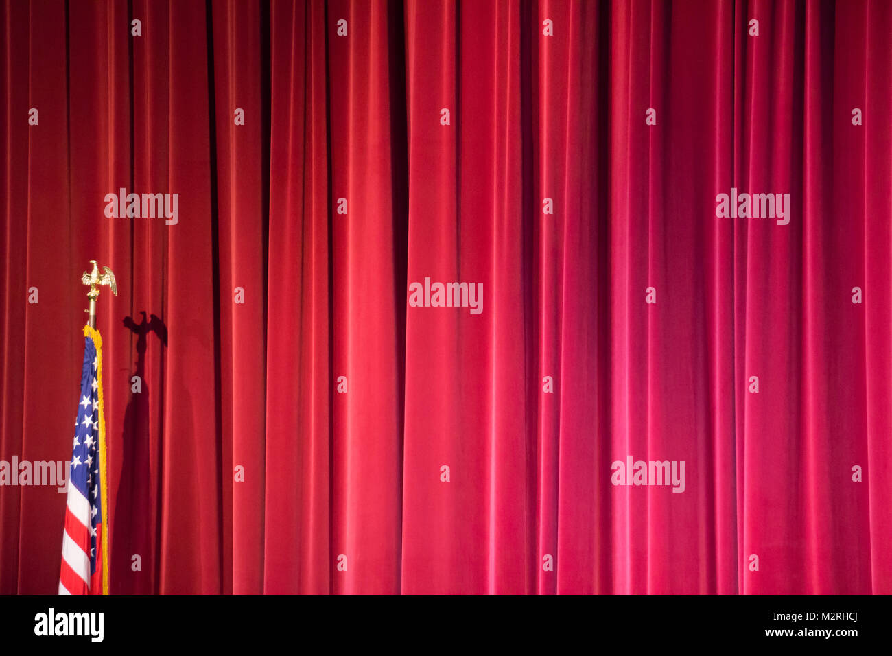 Red Stage Curtains Background With American Flag