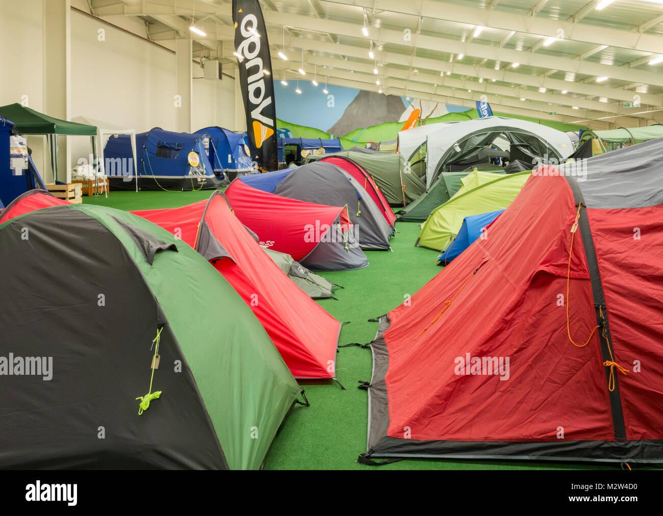 Tent display in Go outdoors store. UK & Tent display in Go outdoors store. UK Stock Photo Royalty Free ...