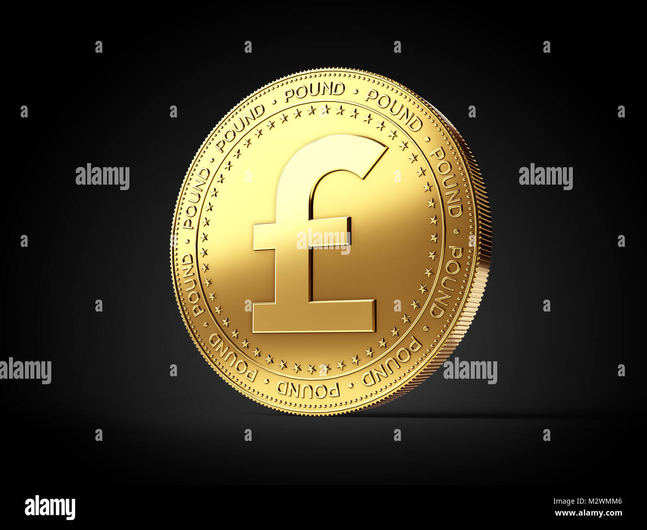 Pound gbp sign on golden coin isolated on black background stock pound gbp sign on golden coin isolated on black background realistic 3d rendering biocorpaavc Gallery