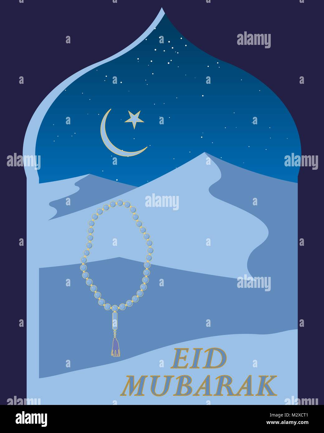 An illustration of an eid festival greeting card with desert sand an illustration of an eid festival greeting card with desert sand dunes and islamic window under a starry sky m4hsunfo