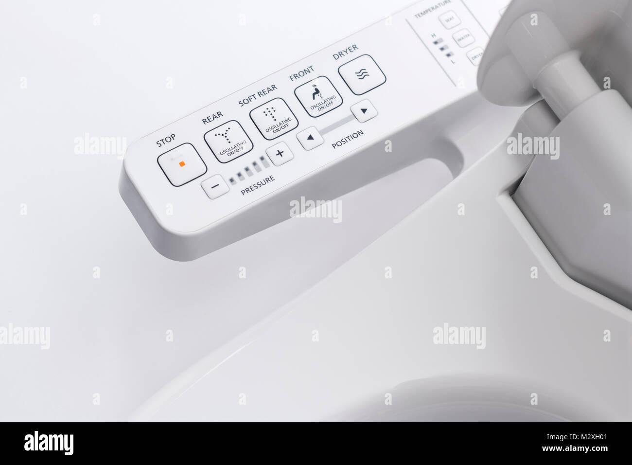 Control panel of TOTO Washlet, bidet toilet seat on white background ...