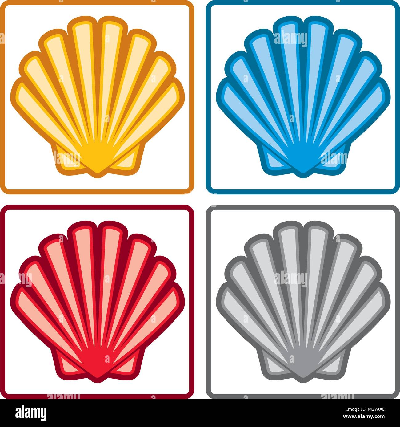Vector sea shell icons isolated on white background yellow red vector sea shell icons isolated on white background yellow red blue and gray seashell symbols colorful collection of ocean scallop animal pictogra biocorpaavc Image collections