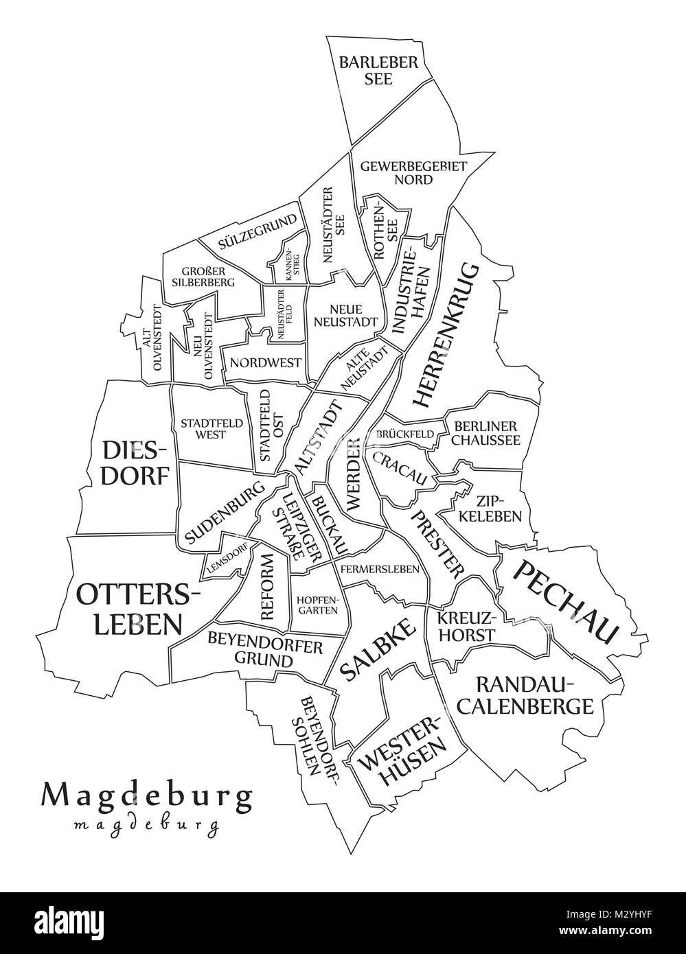 Modern City Map Magdeburg City Of Germany With Boroughs And Titles