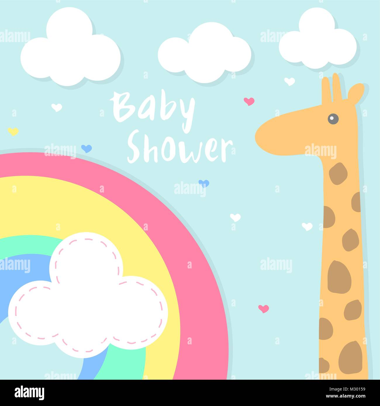 Vector baby shower invitation card with rainbow and giraffe stock vector baby shower invitation card with rainbow and giraffe stopboris Image collections