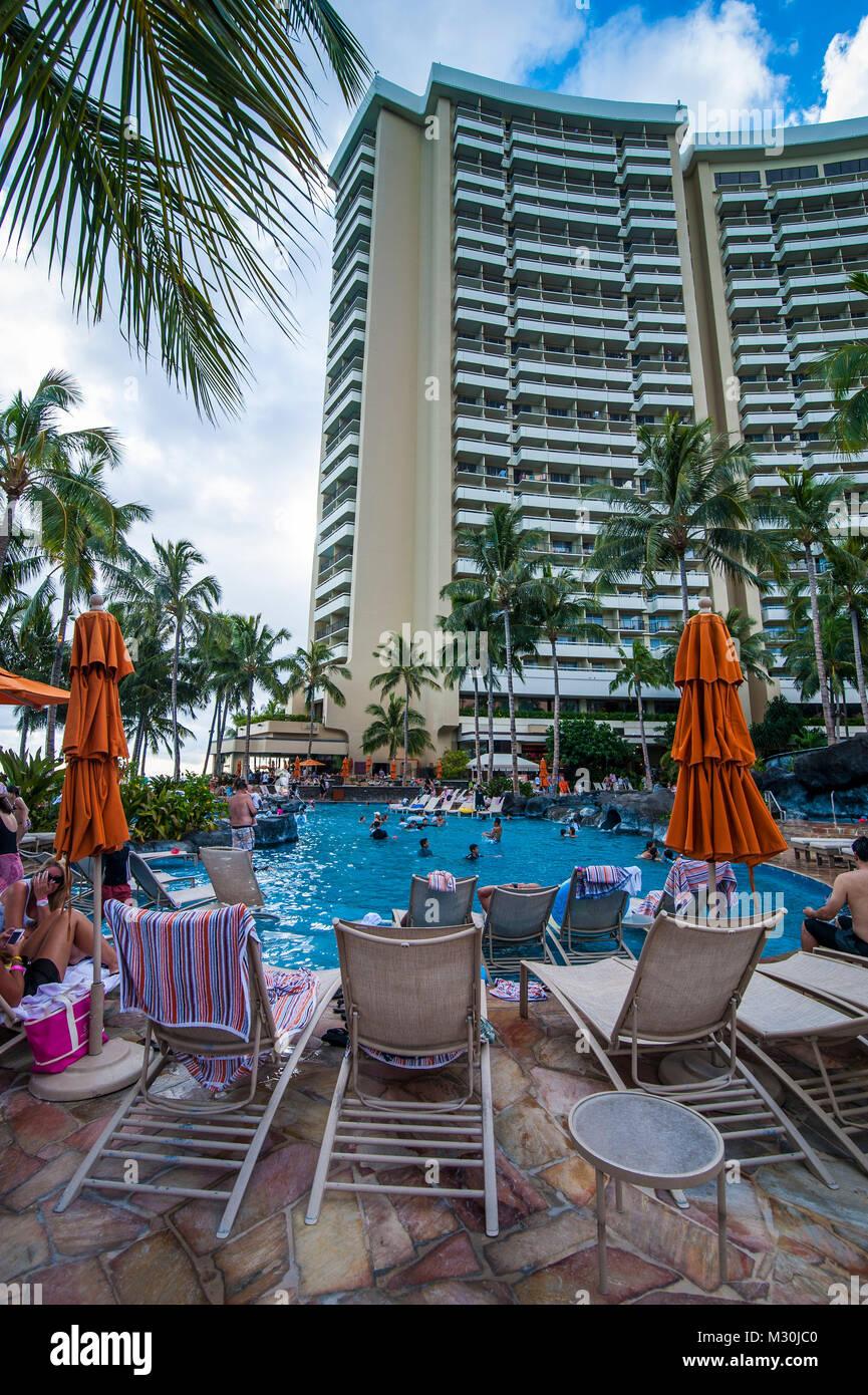 Pool Area Before A High Rise Hotel Right On Waikiki Beach Oahu Hawaii