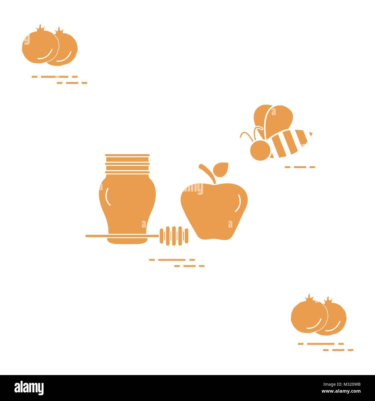 Apple in honey in rosh hashanah pomegranate bee traditional apple in honey in rosh hashanah pomegranate bee traditional jewish food and symbols biocorpaavc