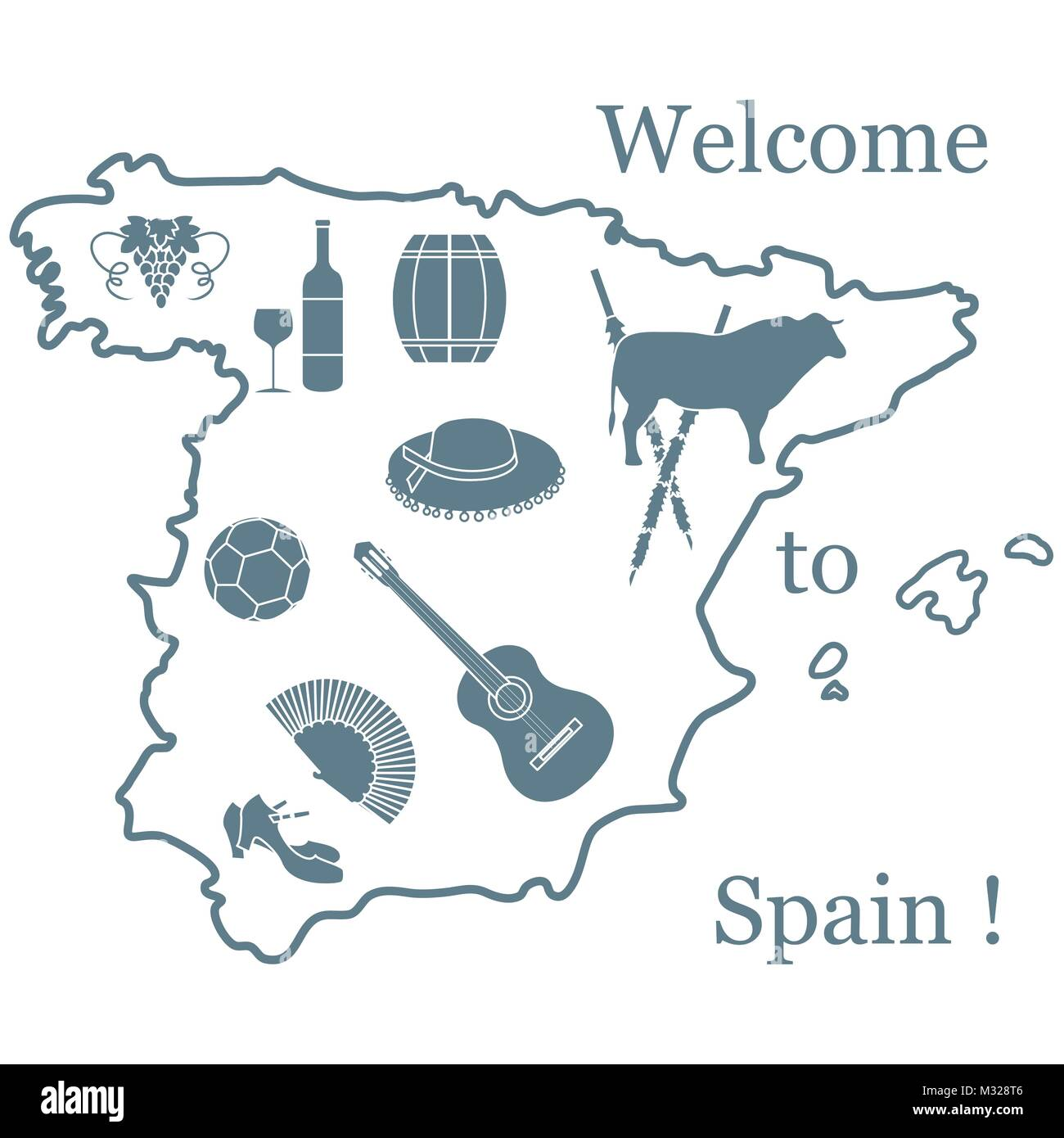 Vector illustration with various symbols of spain travel and stock vector illustration with various symbols of spain travel and leisure design for banner poster or print buycottarizona Images