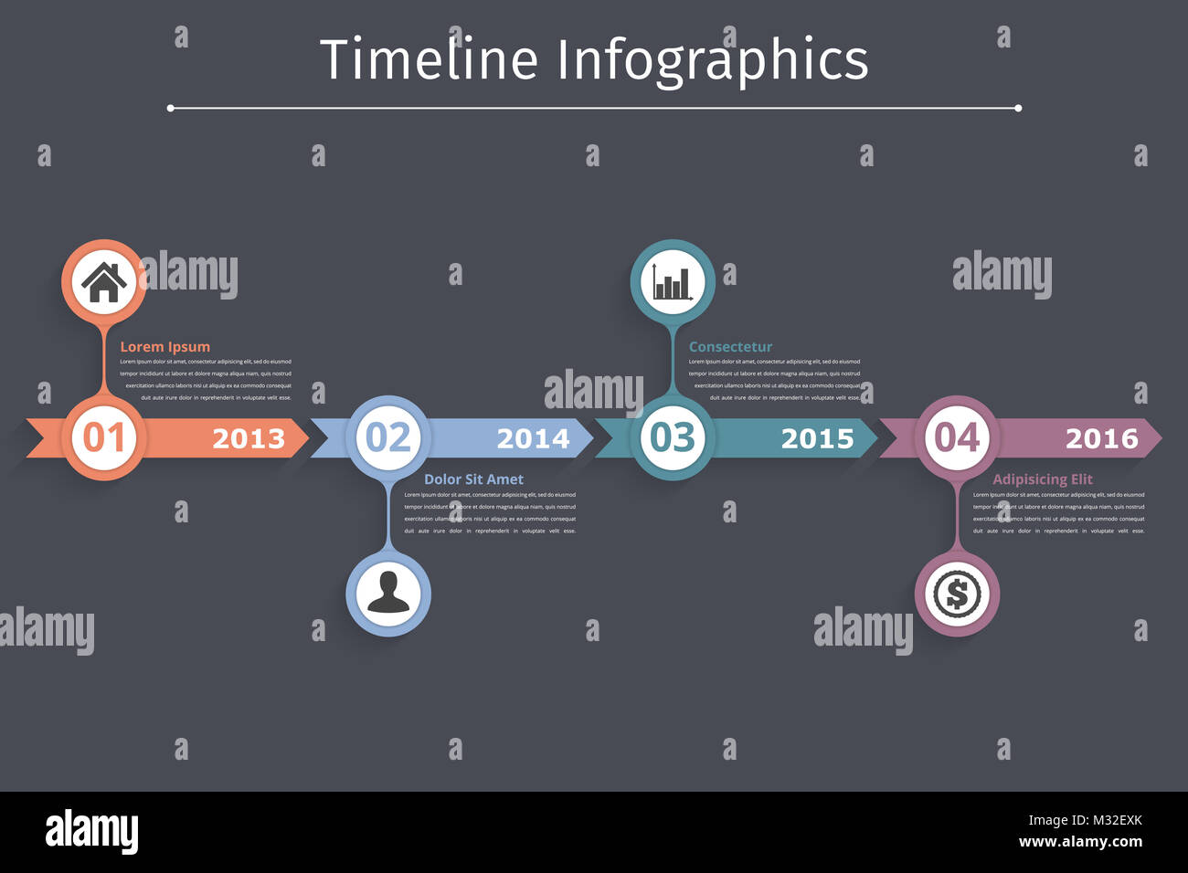 timeline infographics template with arrows flowchart workflow or