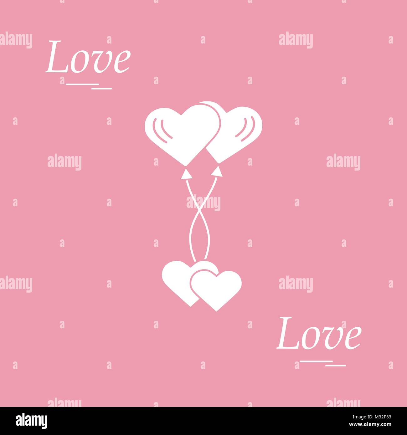Cute vector illustration of love symbols heart air balloons icon cute vector illustration of love symbols heart air balloons icon and two hearts romantic collection design for banner flyer poster or print buycottarizona Images