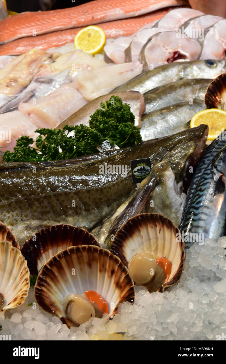 Wet fish market stall stock photos wet fish market stall for Is a fish wet