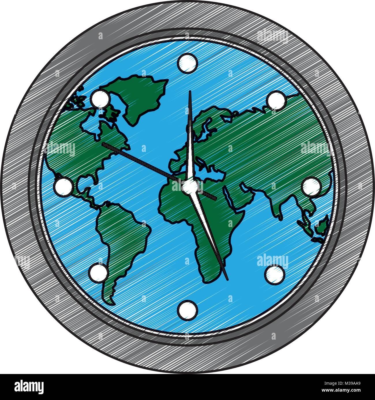 round clock on world map Stock Vector Art & Illustration, Vector ...
