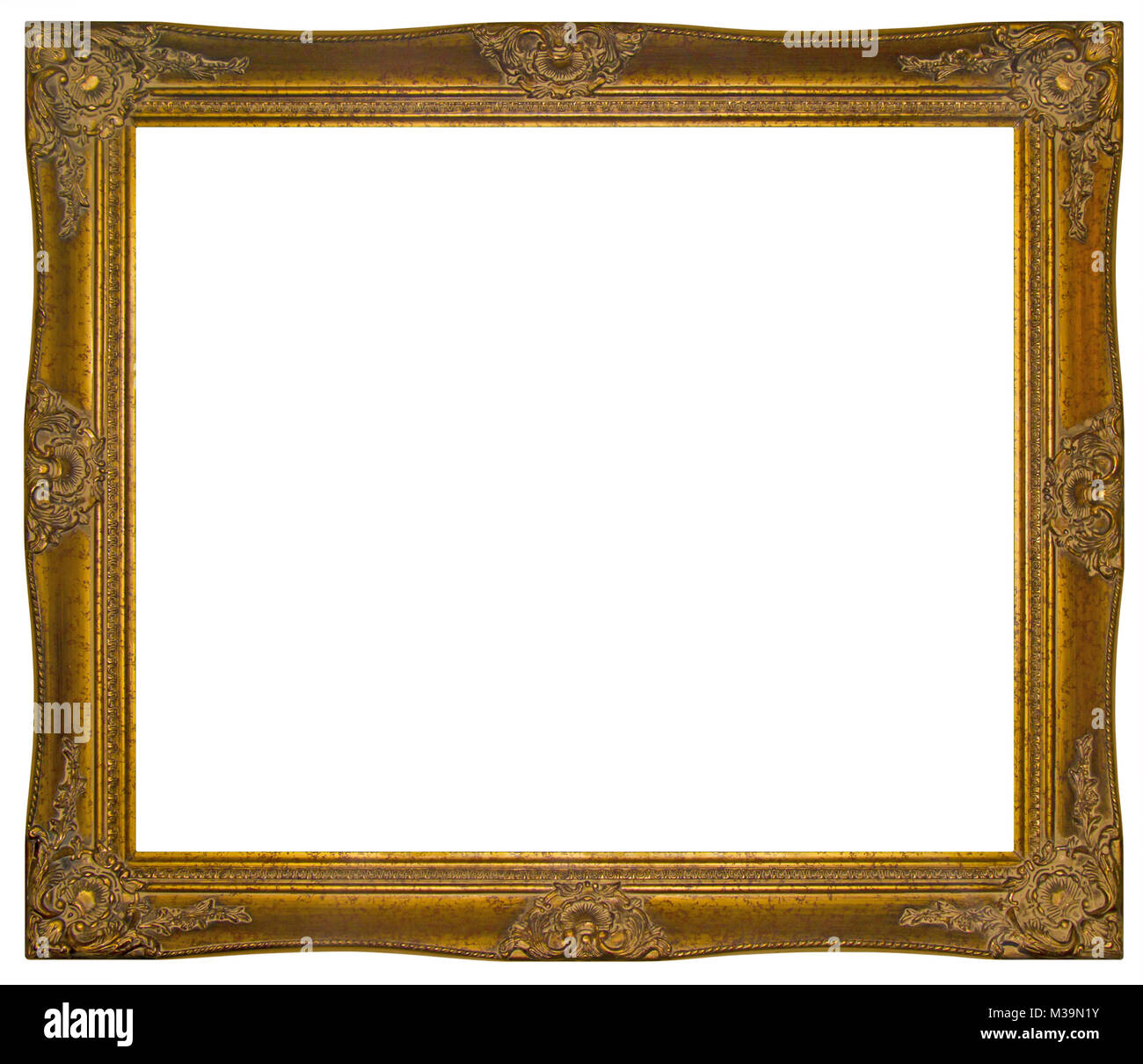 Vintage gilded wooden Frame Isolated with Clipping Path Stock Photo ...