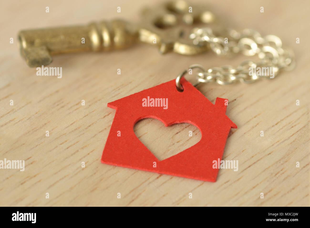 Paper Cut Key Heart Symbol Stock Photos Paper Cut Key Heart Symbol