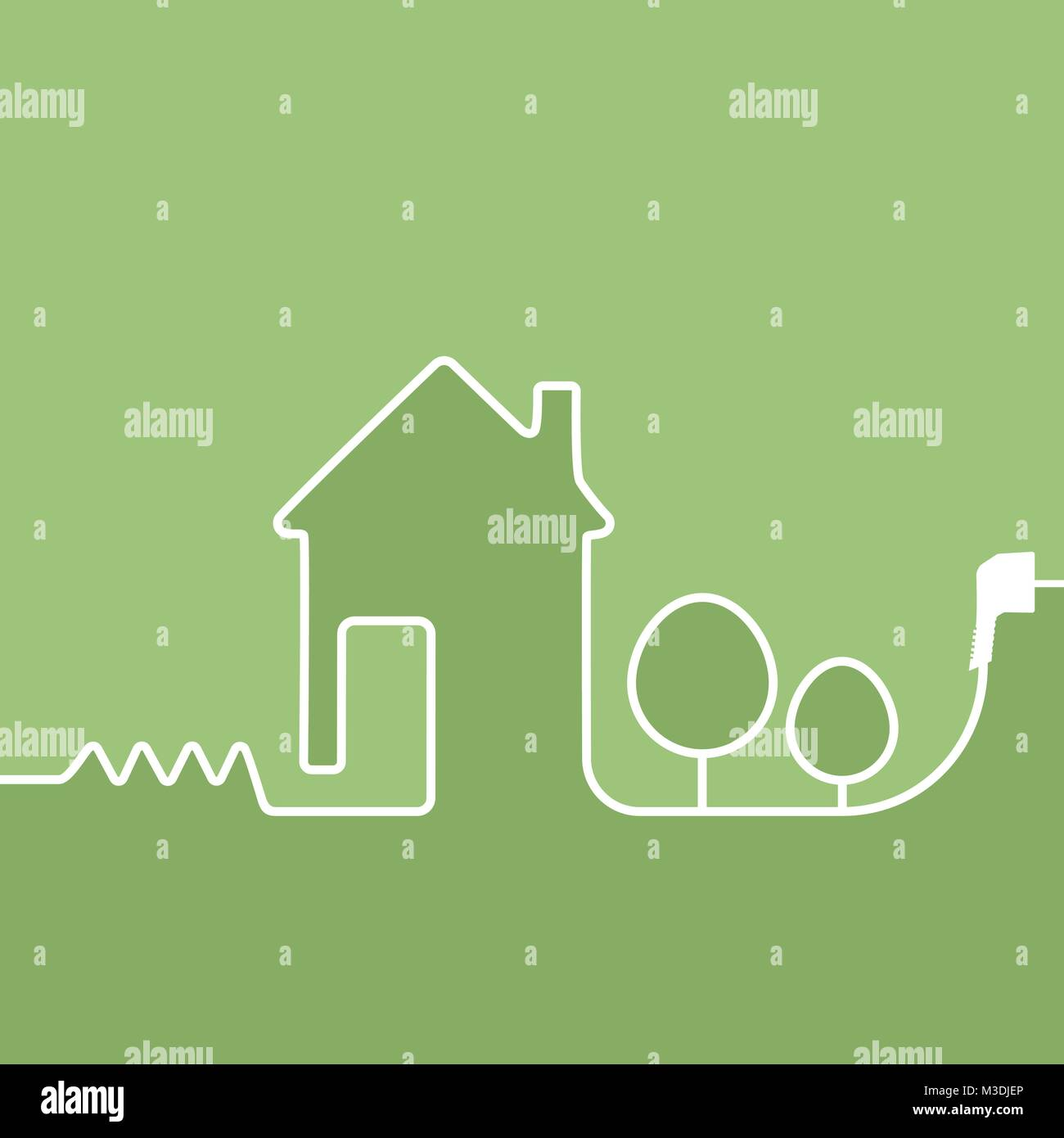 electric wire with plug showing house on a green background Stock ...