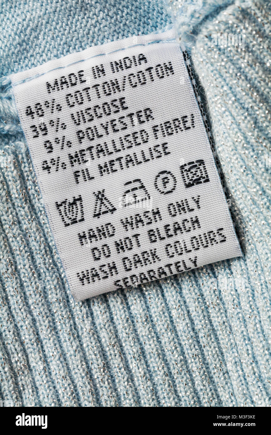 Bleach label stock photos bleach label stock images alamy wash care instructions and symbols on label in garment clothing made in india hand wash buycottarizona