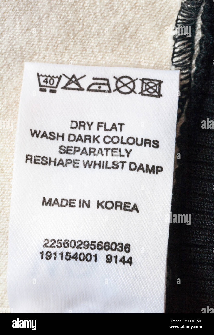 Wash Care Instructions And Symbols On Label On Garment Clothing Made