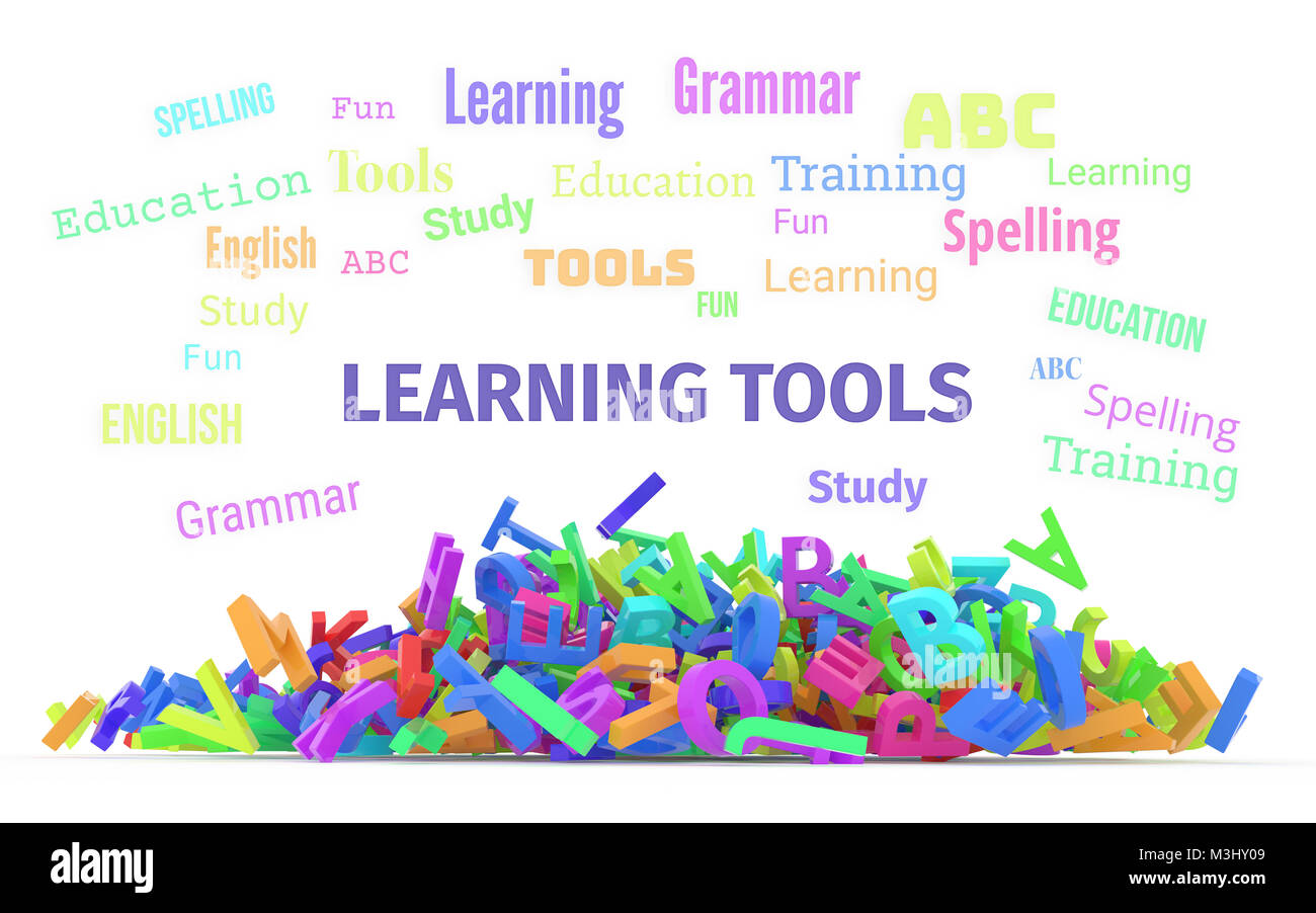 Learning Tools Conceptual Word Cloud With Stack Of Colorful Alphabets Letters From A To Z For Education Isolated On White Background 3D Rendered Ima
