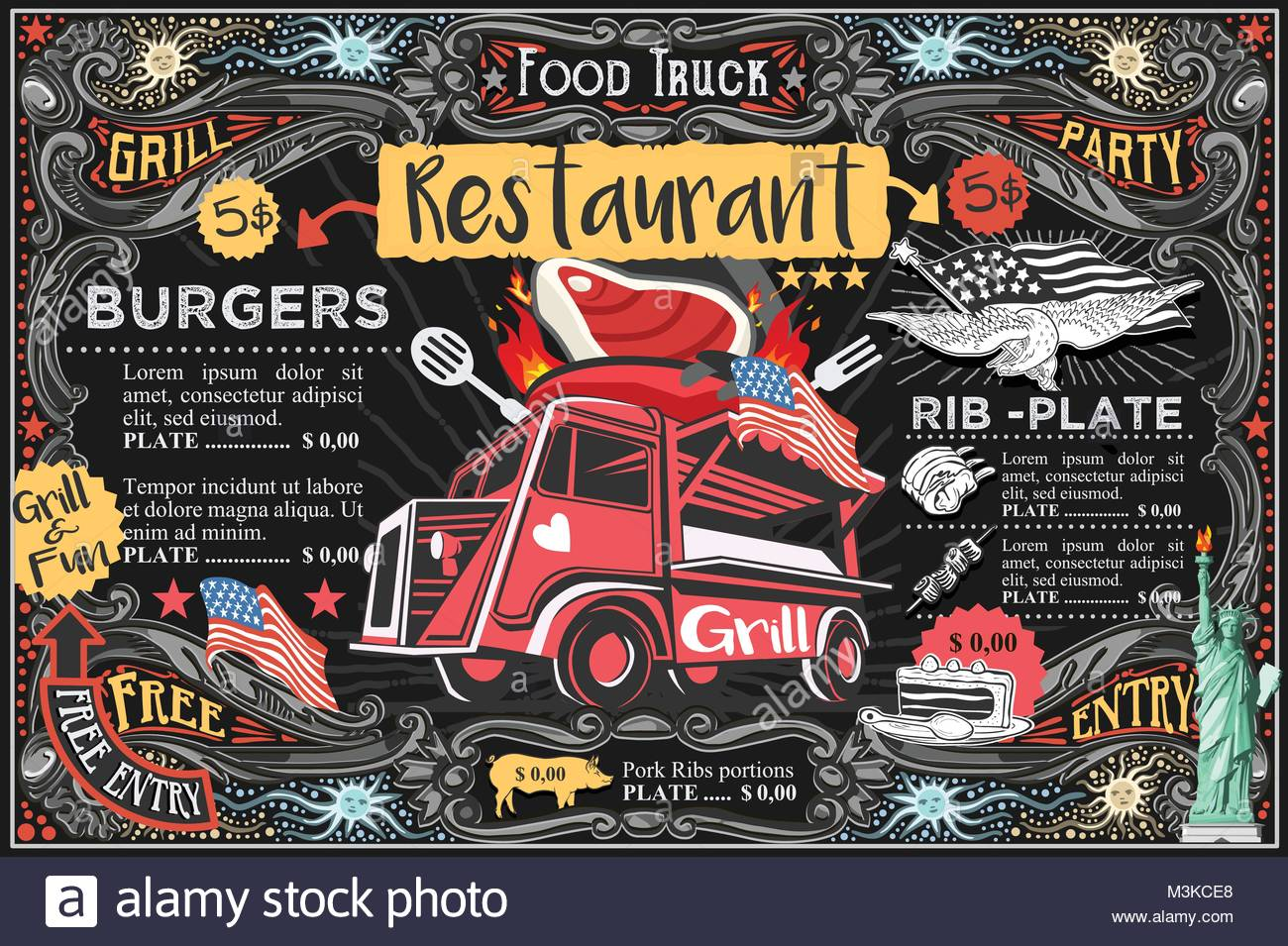 Food Truck Menu With Logo Hipster Advertise Layout Us Vector Stock