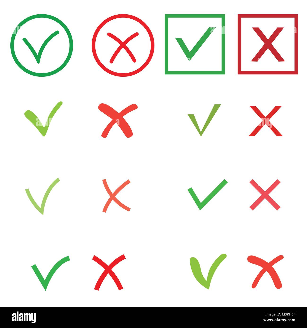 Tick and cross signs set green checkmark ok and red x icons stock tick and cross signs set green checkmark ok and red x icons isolated on white background circle shape symbols yes and no button for vote decision web buycottarizona Gallery