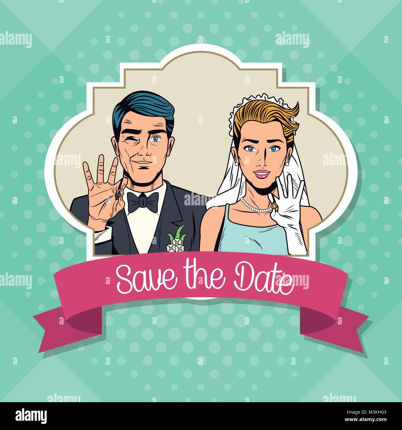 save the date pop art cartoon internet security baniking online